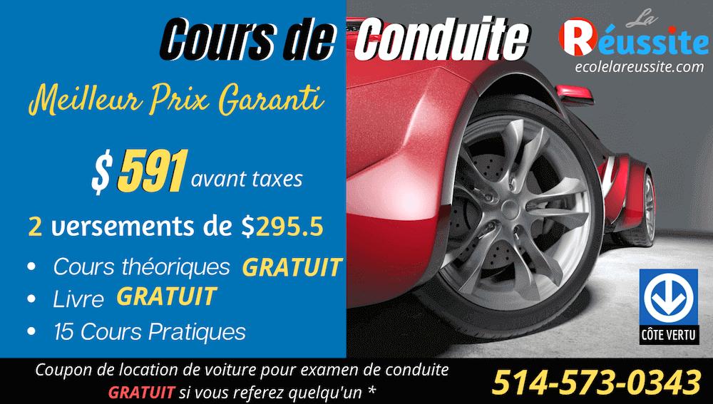 Cours de conduite pas cher a Montreal. Ecole de conduite meilleur prix a Montreal